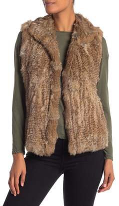Bagatelle Genuine Dyed Rabbit Fur Spread Collar Vest