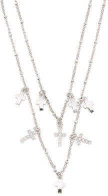 Made In Italy Sterling Silver 2 Strand Multi Cross Necklace