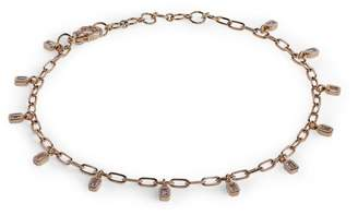 Shay Yellow Gold and Diamond Boho Deco Baguette Drop Anklet