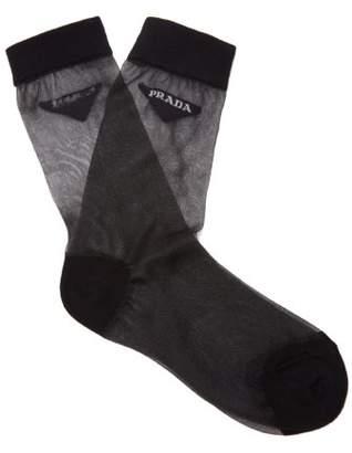 Prada Logo Cotton Blend Socks - Womens - Black