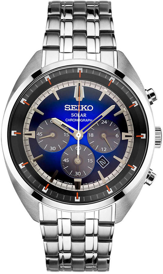 SeikoSeiko Men's Solar Chronograph Recraft Series Stainless Steel Bracelet Watch 43mm SSC567