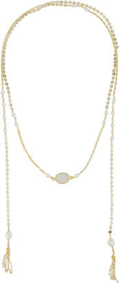 Nakamol Disc Chain Lariat Necklace w/ Pearls