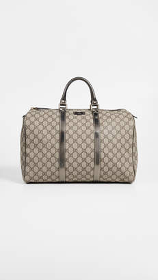 Gucci What Goes Around Comes Around Silver Coated Canvas Joy Boston Bag