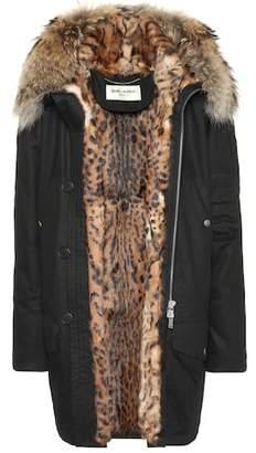 Saint Laurent Fur-lined cotton-blend parka