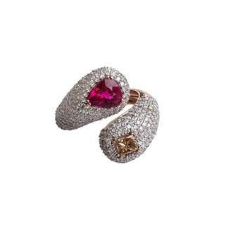 Ri Noor - Rubellite Fancy Diamond & White Diamond Ring