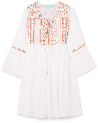 Melissa Odabash Natalia Embroidered Voile Mini Dress - White