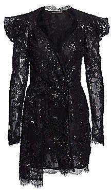 Amen Women's Embroidery Lace Long Sleeve Dress