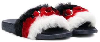 Gucci Kids faux-fur horsebit sandals
