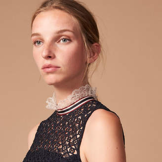 Sandro Lace dress with trim on the collar