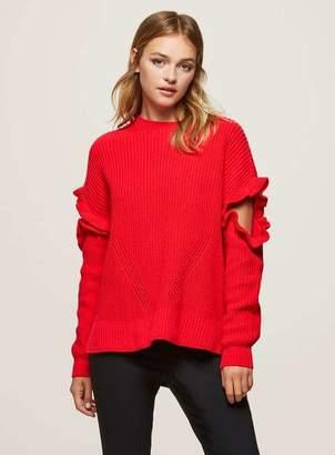Miss Selfridge Red frill sleeve knitted jumper