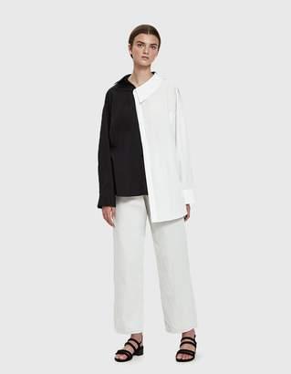 Awake Contrast Asymmetric Shirt in Black/White