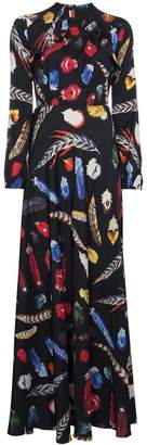 Navro Silk maxi dress with feather print