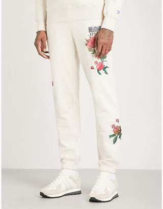 Billionaire Boys Club Floral-embroidered cotton-jersey jogging bottoms