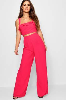 boohoo Petite Wide Leg Trouser And Bralet Co-Ord