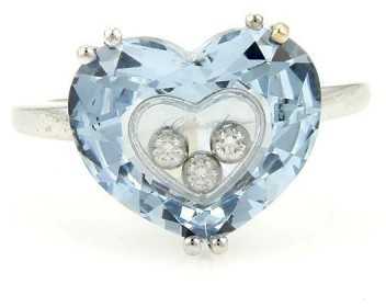 ChopardChopard Happy 18K White Gold Blue Crystal & Diamond Ring Size 9.5