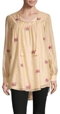 Tularosa Blythe Floral Silk-Blend Hi-Lo Tunic Top