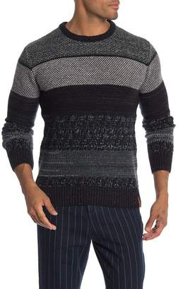 Knowledge Cotton Apparel Multi Color Jacquard Wool Blend Sweater