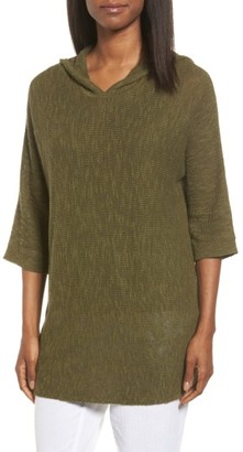 Women's Eileen Fisher Organic Linen & Cotton Hooded Sweater $198 thestylecure.com