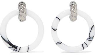 Balenciaga Palladium-tone And Resin Hoop Earrings - White