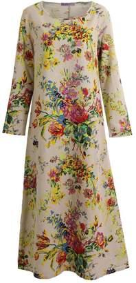 Romacci Vintage Women Maxi Floral Dress Pockets Plus Size Cotton Linen Dress