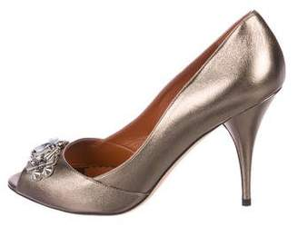 Oscar de la Renta Embellished Peep-Toe Pumps