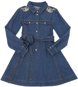 Ermanno Scervino Embellished Cotton Chambray Shirt Dress