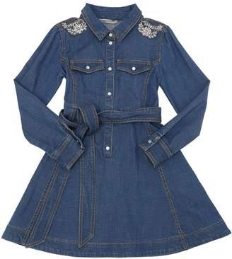 Ermanno Scervino Embellished Cotton Chambray Shirt Dress