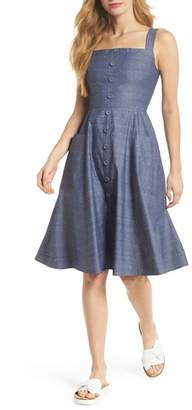 Gal Meets Glam Riley Dot Chambray Fit & Flare Sundress
