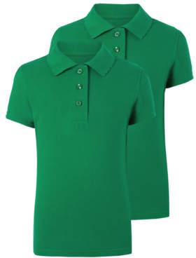 George Girls Green Scallop School Polo Shirt 2 Pack