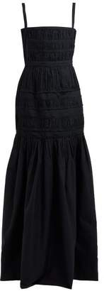 Brock Collection Olinda Gathered Cotton Gown - Womens - Navy