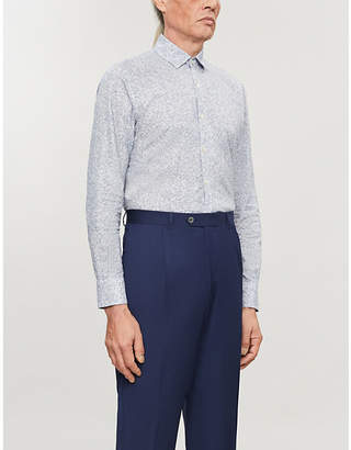 Canali Coin-print modern-fit cotton shirt