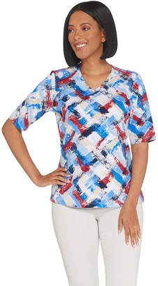 Denim & Co. Perfect Jersey Brush Stroke Print Elbow- Sleeve Top