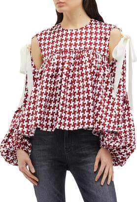 Hellessy 'Bay' tie cold shoulder balloon sleeve houndstooth top