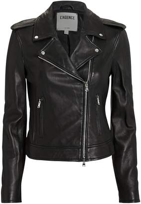 L'Agence Perfecto Leather Black Jacket