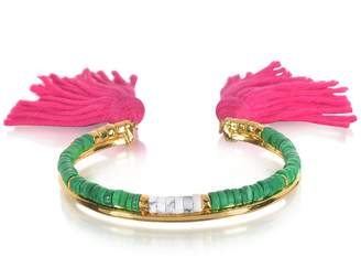 Aurelie Bidermann 18K Gold-plated & Green Jaspe and White Bamboo Beads Sioux Bracelet w/Pink Cotton Tassels