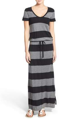 Caslon Drawstring V-Neck Jersey Maxi Dress