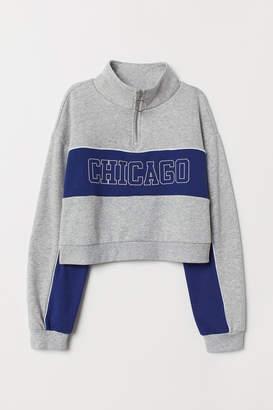 H&M Stand-up Collar Sweatshirt - Gray