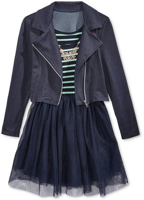 Beautees 2-Pc. Denim Moto Jacket & Babydoll Dress Set, Big Girls (7-16) $64 thestylecure.com