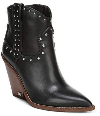 Sam Edelman Women's Iris Studded Leather Block Heel Booties