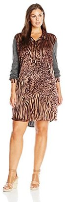 Single Dress Women's Plus Size Printed Shirtdress W/ Jersey Contrast $74.41 thestylecure.com