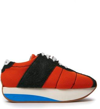 Marni Mesh And Suede Low Top Trainers - Womens - Orange Multi