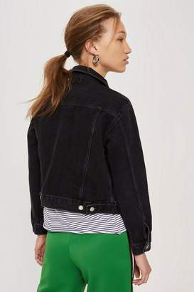 Topshop Washed Black Fitted Denim Jacket