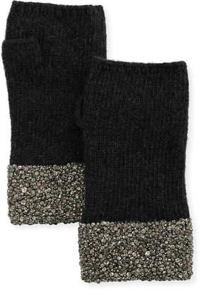 Neiman Marcus Carolyn Rowan Fingerless Cashmere Gloves w/ Crystal Pave Cuffs