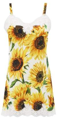 Dolce & Gabbana Sunflower Print Silk Blend Slip Dress - Womens - Yellow Print