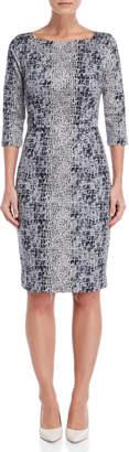 Samantha Sung Alligator Celine Printed Sheath Dress