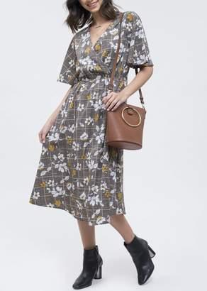 Blu Pepper Floral & Plaid Midi Dress