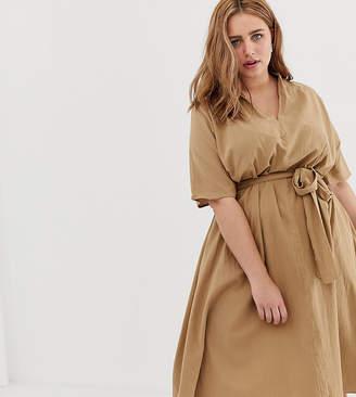378ba3b88e0384 Glamorous Curve curve midi dress with belt tie and kimono sleeves