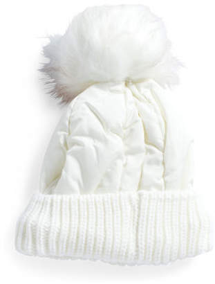 Puffer Hat With Fleece Lining And Faux Fur Pom