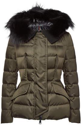 Moncler Sterne Down Jacket with Fur-Trimmed Hood