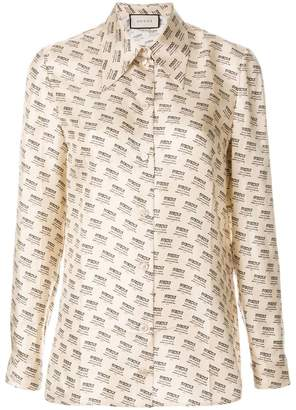 Gucci Invite Stamp long-sleeve blouse